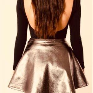 American Apparel Gold Metallic Skater Mini Skirt M